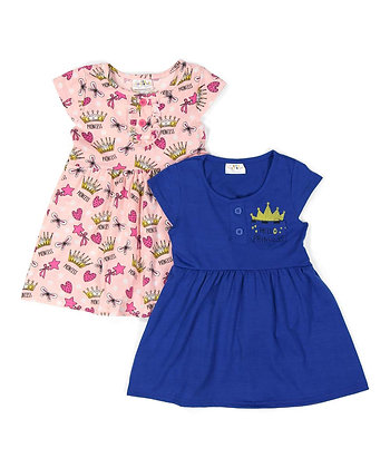 2 Pack Knit Dress 'Hello Princess' - 0-9M