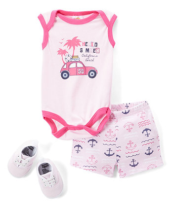 Pink 'Hello Summer' Bodysuit Set - 0-12M