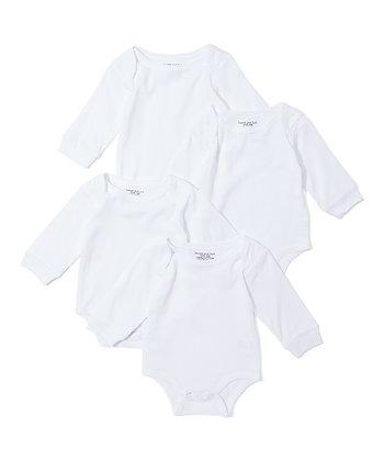 White Long-Sleeve Four-Pair Bodysuit Set - 0-12M