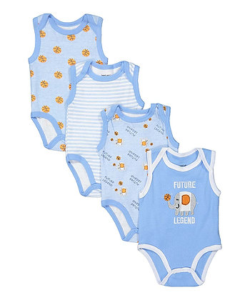 Light Blue 'Future Legend' Tank Sleeve 4PK Bodysuit Set - 0-12M