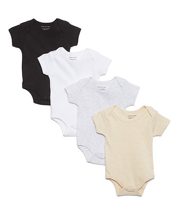 Short Sleeve Solids 4 Pack Bodysuit Set - 12-24M