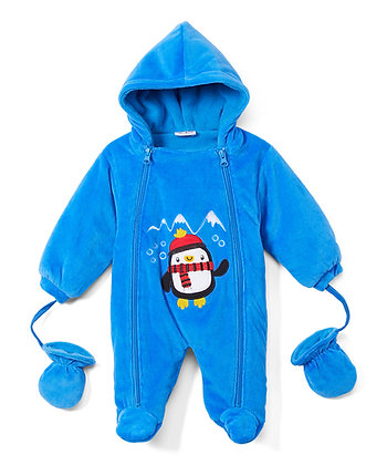 Royal Blue Penguin Snowsuit - 0-9M