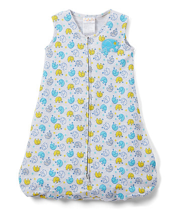 Blue & Yellow Elephant Wearable Blanket - 0-6M