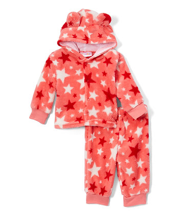 Pink Star Fleece Pants & Jacket Set - 0-12M