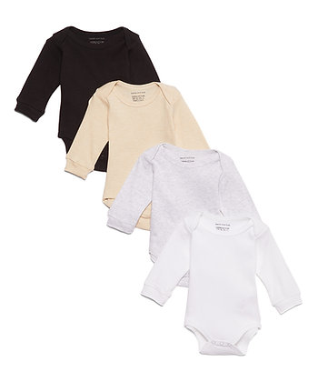 Long Sleeve Solids 4 Pack Bodysuit Set - 0-12M
