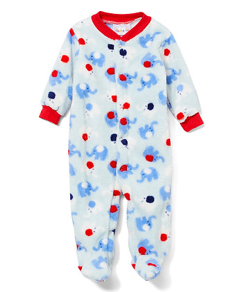 Red & Blue Elephant Fleece Footie - 0-9M