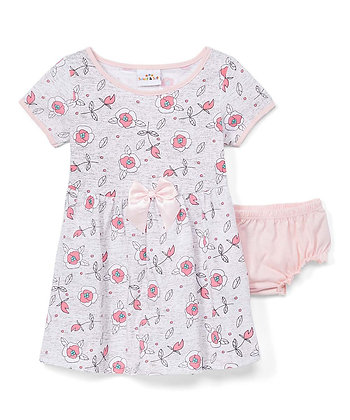 Floral Knit Dress With Panty - 12-24M