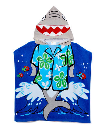 Cool Shark Hooded Pool Towel Poncho