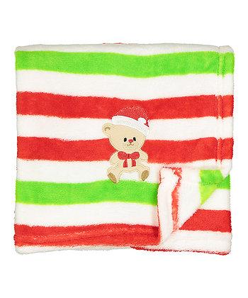30'' x 40'' Red & Green Stripe Santa Bear Stroller Blanket