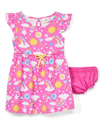 Rainbow Cap Sleeve Knit Dress With Panty - 12-24M
