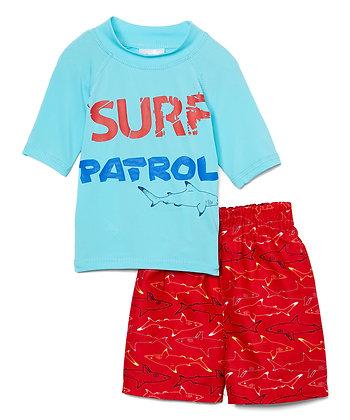 Swim Short & Short Sleeve Rashguard Surf Patrol - 2-4T