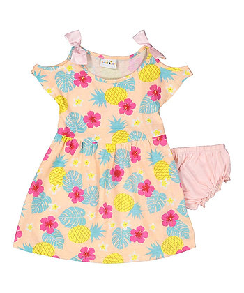 Pineapple Cold Shoulder Knit Dress With Panty - 12-24M