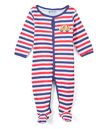 Stripe Car Footie - 0-9M