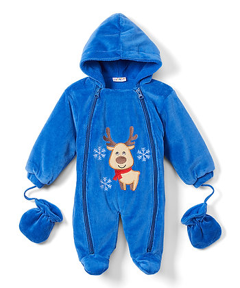 Navy Reindeer Snowsuit - 12-24M