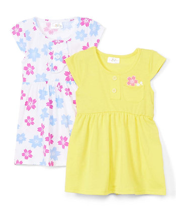 2 Pack Knit Dress 'Peek A Boo Floral' - 12-24M