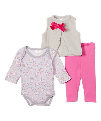 Gray & Fuchsia Sheep Plush Vest Set - 0-12M