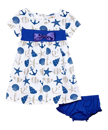 Nautical & Bow Cap Sleeve Bubble Knit Dress With Panty - 12-24M