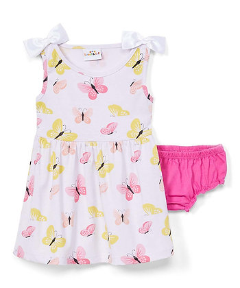 Butterfly Sleeveless Knit Dress With Panty - 12-24M