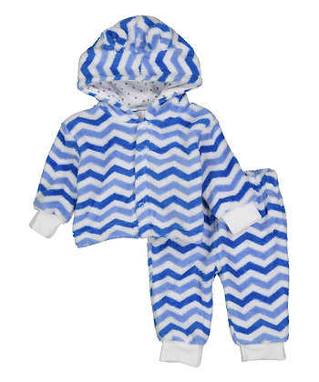Light Blue Chevron Fleece Pants & Hoodie Set - 0-12M