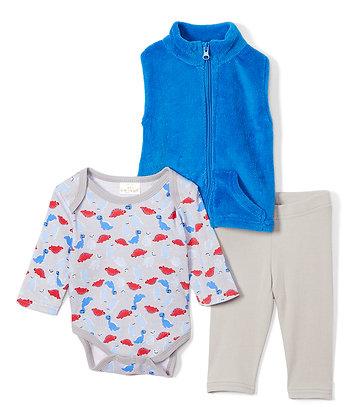 Blue & Gray Dinosaur Plush Vest Set - 0-12M