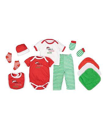 Red & Green 'Santa's Little Helper' 10-Piece Layette Set - 0-6M