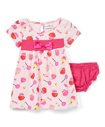 Cupcake and Candy Cap Sleeve Knit Dress With Panty - 12-24M