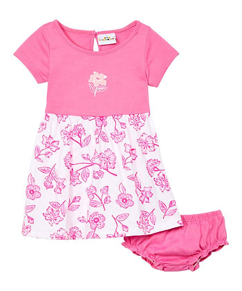 Floral Two Tone Cap Sleeve Knit Dress With Panty - 12-24M