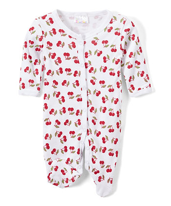 White & Red Cherry Footie - 0-9M