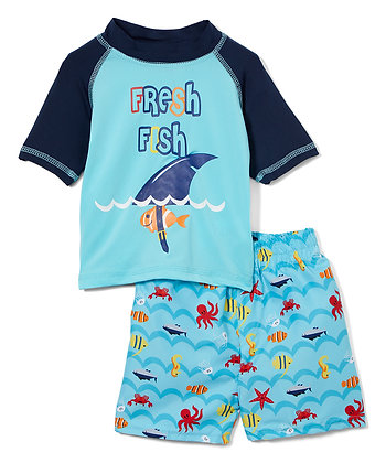 Swim Short & Short Sleeve Rashguard Fresh Fish - 12-24M