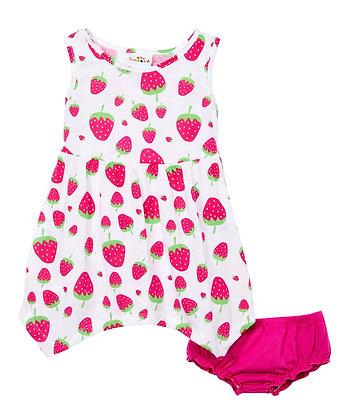 Strawberry Sleeveless Shark Bite Knit Dress With Panty - 12-24M