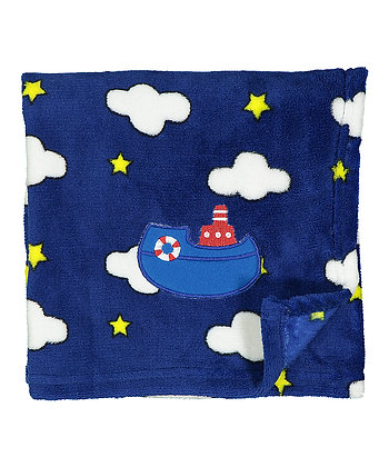 30'' x 40'' Navy Clouds & Sailboat Stroller Blanket