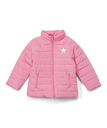 Pink & Silver Star Puffer Jacket - 2-4T