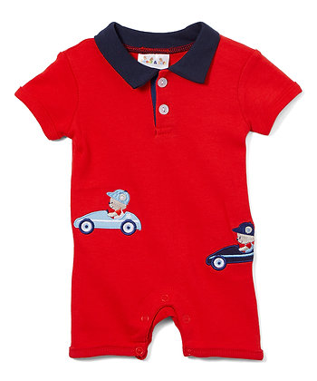 Knit Romper Race Cars - 0-12M