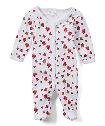 White & Red Strawberry Footie - 0-9M