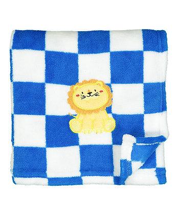 30'' x 40'' Blue Checkerboard & Lion Stroller Blanket