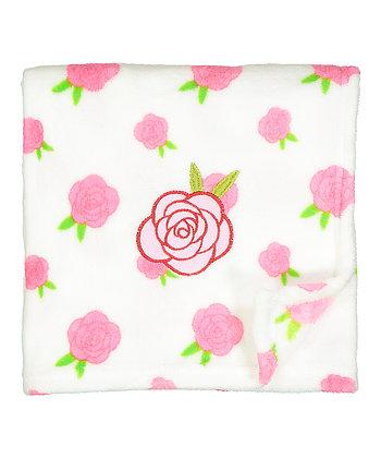 30'' x 40'' White & Pink Roses Stroller Blanket