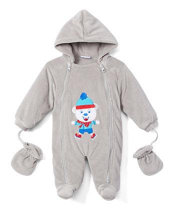 Gray Bear Snowsuit - 0-9M