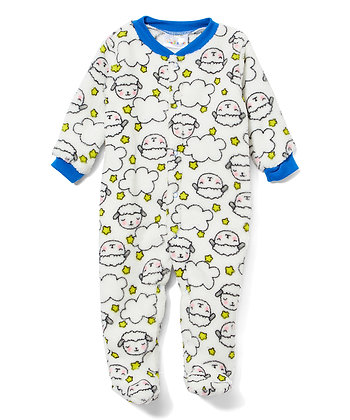 White & Blue Sheep Fleece Footie - 0-9M