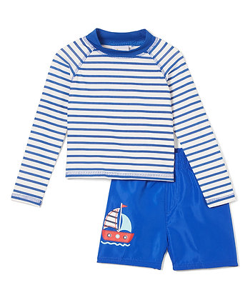 Swim Short & Long Sleeve Rashguard Stripe - 2-4T