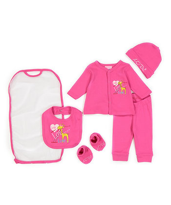 Hot Pink 'Love' Cardigan Set - 0-9M