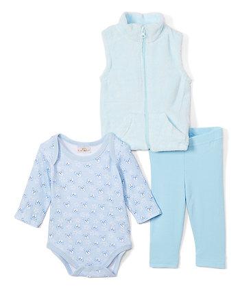 Light Blue Bear Plush Vest Set - 0-12M