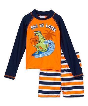 Swim Short & Long Sleeve Rashguard Sea Ya Later - 12-24M