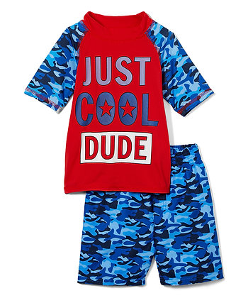 Swim Short & Short Sleeve Rashguard Just Cool Dude - 2-4T