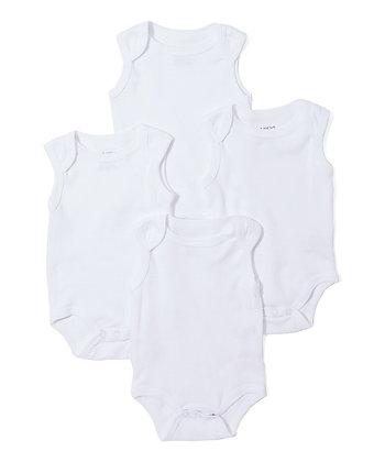 White Sleeveless Four-Pair Bodysuit Set - 12-24M