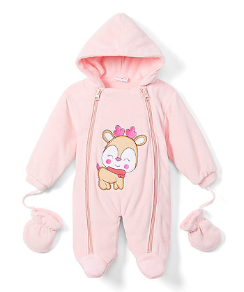 Light Pink Reindeer Snowsuit - 0-9M