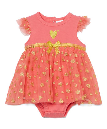 Dress Bodysuit with Lace Tutu Hearts - 0-9M
