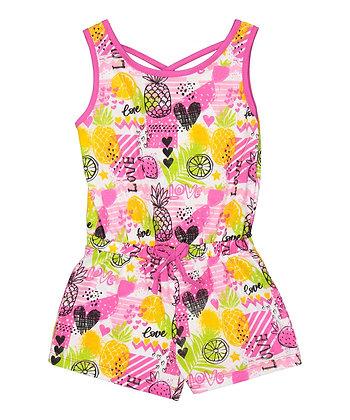 Pineapple Love Sleeveless Knit Romper - 4-6X
