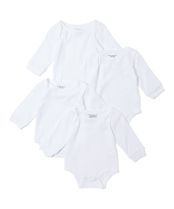 White Long-Sleeve Four-Pair Bodysuit Set - 12-24M