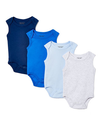 Tank Sleeve Solids 4 Pack Bodysuit Set - 0-12M