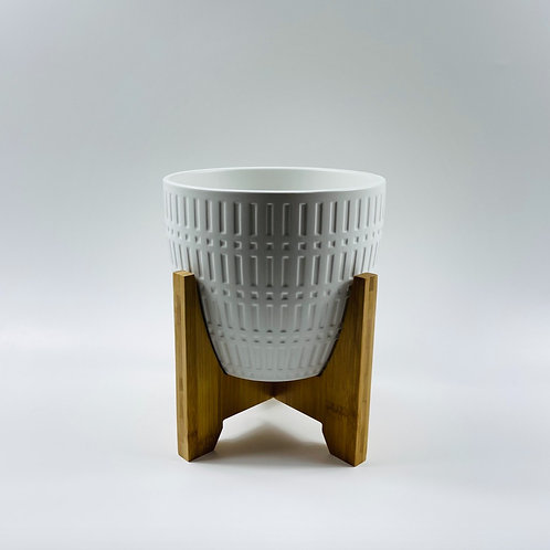 Reversible Wooden Stand with White Pot